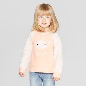 NWT Cat & Jack Long Sleeve Orange/White Sweater 2T